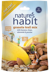 Granola Trail Mix with Banana Chips, Almonds & Pecans 4oz. image for natures habit