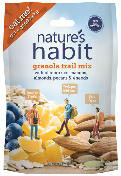 Granola Trail Mix with Blueberries, Mangoes, Almonds, Pecans & 4 Seeds 4oz. image for natures habit