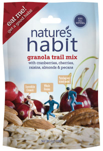 Granola Trail Mix with Cranberries, Cherries, Raisins, Almonds & Pecans 4oz. image for natures habit